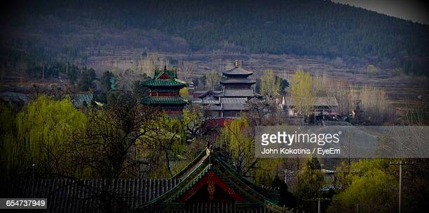 shaolin monastery against mountains - shaolin monastery stock photos and pictures