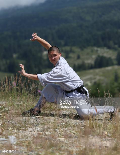 Shaolin monk poses for a photo during an international showcase on July 10 2018 in Bursa Turkey Youth at the Shaolin temple in Zhengzhou of China's...