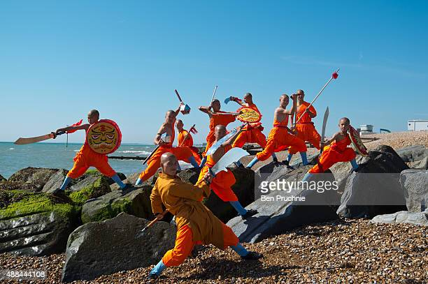 A shaolin monk practices on the beach on September 10 2015 in Bognor Regis England The Shaolin Monks have travelled from their temple in the...