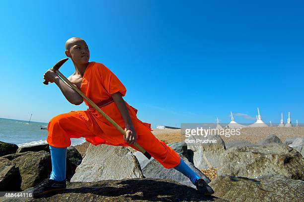 Shaolin monk practices on the beach on September 10, 2015 in Bognor Regis, England. The Shaolin Monks have travelled from their temple in the...