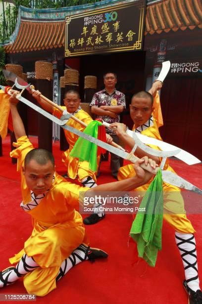 Shaolin monks Hu Xu, Liao Feng, Hu Gao, Li Sheng Juan, performing at the Ngong Ping 360 Shaolin Showcase, Ngong Ping. 21JUL11