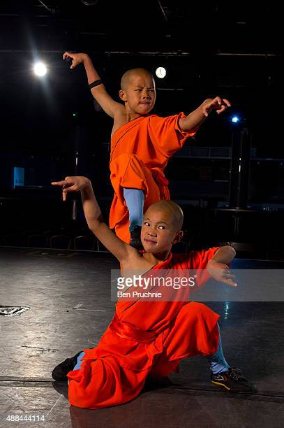 Shaolin monks practice on September 10, 2015 in Bognor Regis, England. The Shaolin Monks have travelled from their temple in the foothills of the...