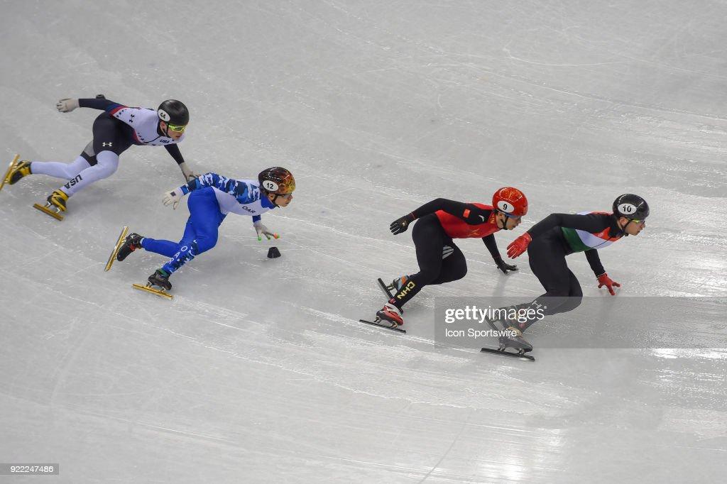 Shaolin Sandor Liu (HUN) leads Tianyu Han (CHN), Semen Elistratov (OAR), and John-Henry Krueger (USA) into the final turn to win the Men's 500M Heat 8 race during the 2018 Winter Olympic Games at the Gangneung Ice Arena on February 20, 2018 in PyeongChang, South Korea.