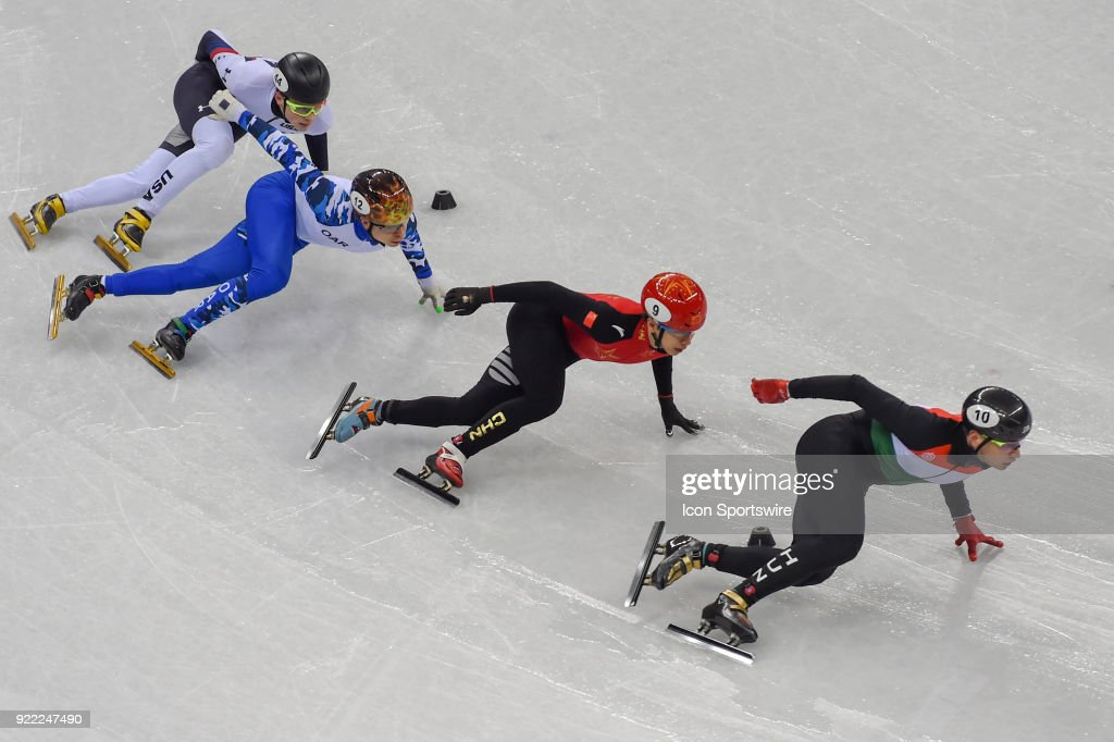 Shaolin Sandor Liu (HUN) leads Tianyu Han (CHN), Semen Elistratov (OAR), and John-Henry Krueger (USA) into the final turn to win the Men's 500M Heat 8 race during the 2018 Winter Olympic Games at the Gangneung Ice Arena on February 20, 2018 in PyeongChang, South Korea.