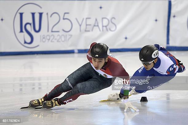 Shaolin Sandor Liu of Hungary and Victor An of Russia in action in the 1000m Men Quarterfinal during the European Short Track Speed Skating...