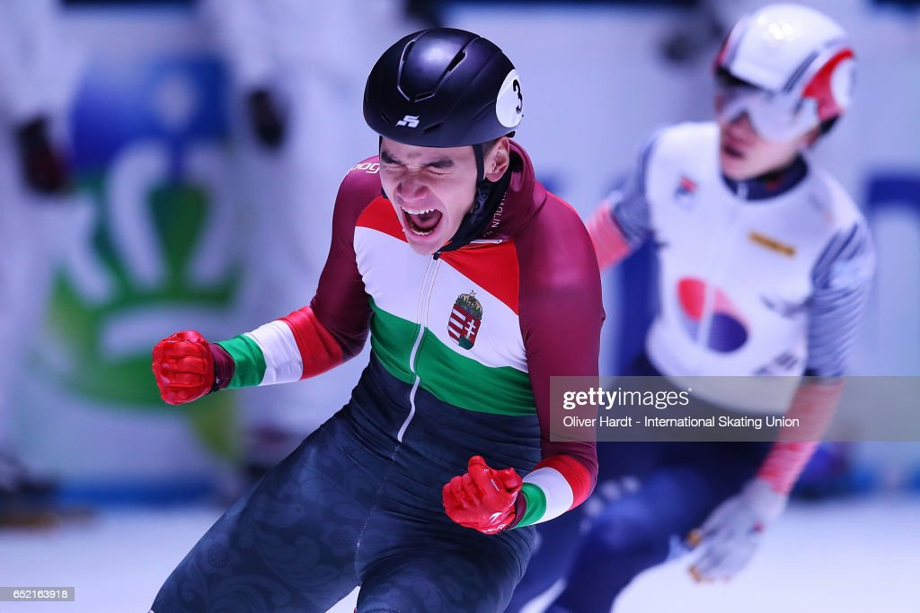 Shaolin Sandor Liu of Hungary celebrate after the Men's 1500m semifinals race during day one of ISU World Short Track Championships at Rotterdam Ahoy Arena on March 11, 2017 in Rotterdam, Netherlands.