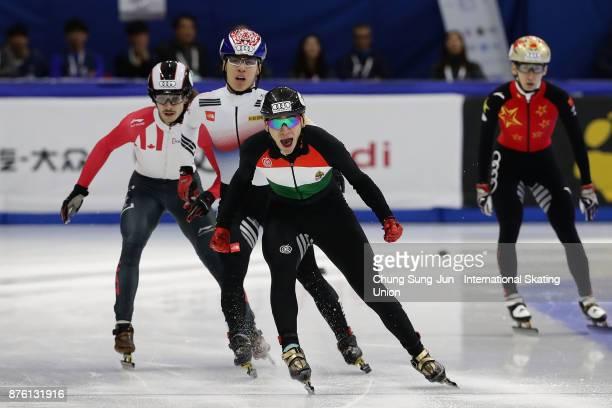 Shaolin Sandor Liu of Hungary celebrates after winning the Men 1000m Final A during the Audi ISU World Cup Short Track Speed Skating at Mokdong Ice...