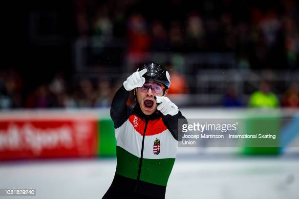 Shaolin Sandor Liu of Hungary celebrates crossing the finish line first in the Men's Relay final during the ISU European Short Track Speed Skating...