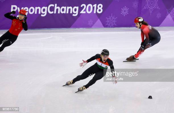 Shaolin Sandor Liu of Hungary celebrates victory during the Short Track Speed Skating Men's 5000m Relay Final A on day thirteen of the PyeongChang...