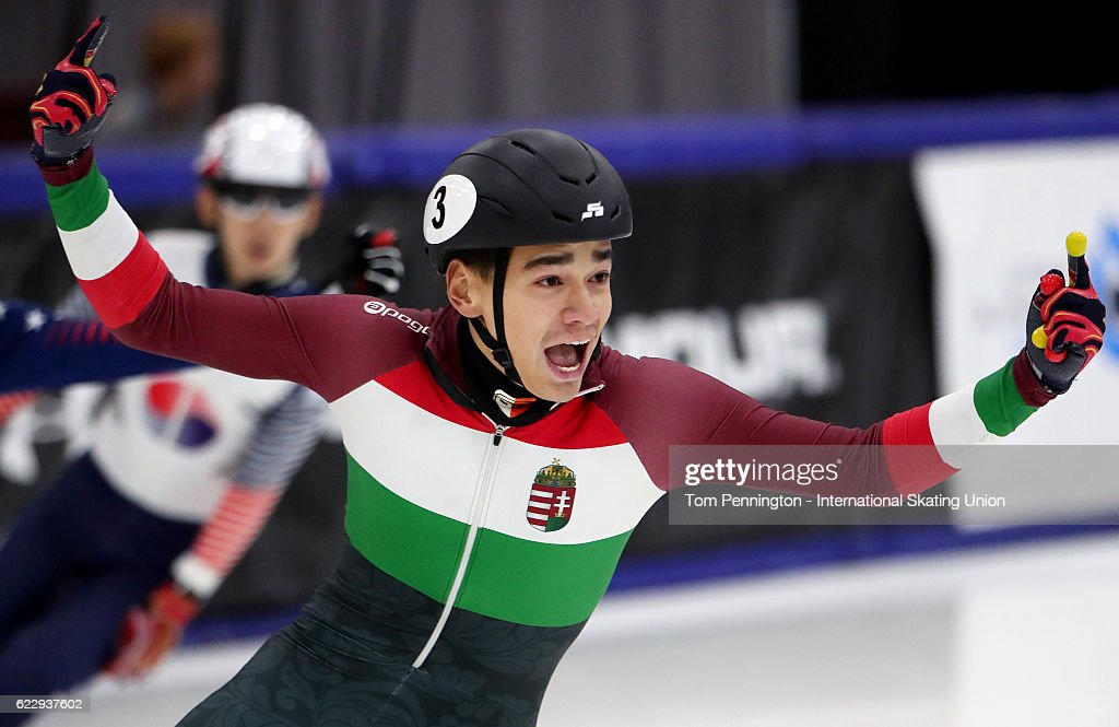 Shaolin Sandor Liu of Hungary celebrates winning the bronze in the Men's 1500 meter A-final during the ISU World Cup Short Track Speed Skating event on November 12, 2016 in Salt Lake City, Utah.