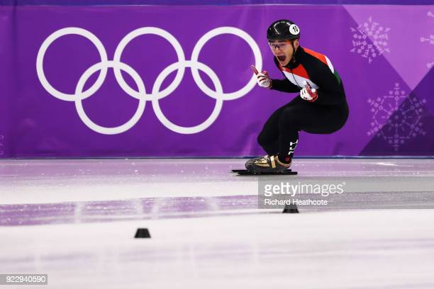 Shaolin Sandor Liu of Hungary celebrates winning the gold medal during the Short Track Speed Skating Men's 5000m Relay Final A on day thirteen of the...