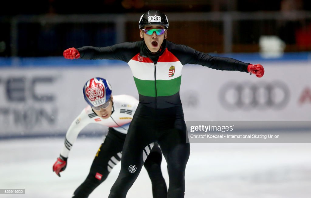Shaolin Sandor Liu of Hungary celebrates winning the men 500m final A during the Audi ISU World Cup Short Track Speed Skating at Bok Hall on September 30, 2017 in Budapest, Hungary.