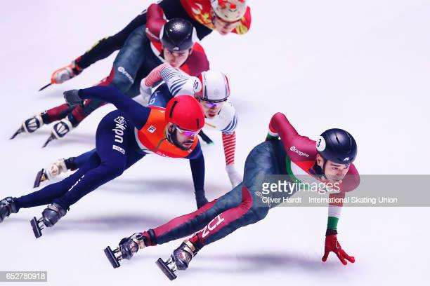 Shaolin Sandor Liu of Hungary competes in the Men«s 1000m quarter finals race during day two of ISU World Short Track Championships at Rotterdam Ahoy...