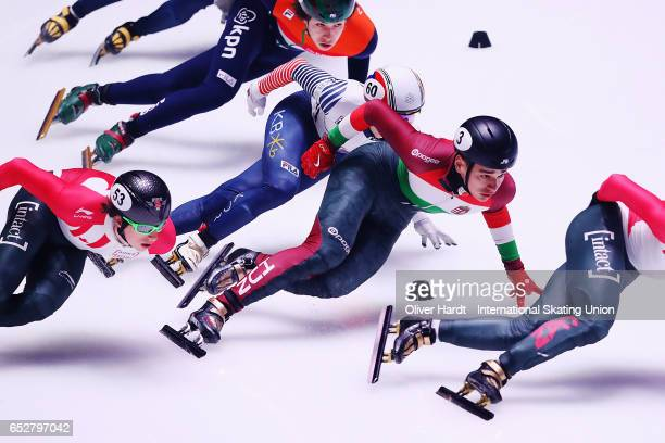 Shaolin Sandor Liu of Hungary competes in the Men«s 1000m semi finals race during day two of ISU World Short Track Championships at Rotterdam Ahoy...