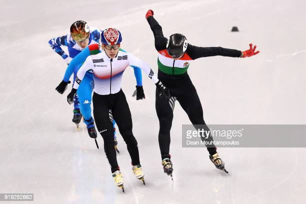 Shaolin Sandor Liu of Hungary Hyojun Lim of Korea Yuri Confortola of Italy and Semen Elistratov of Olympic Athlete from Russia cross the finish line...