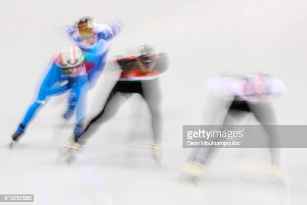 Shaolin Sandor Liu of Hungary Hyojun Lim of Korea Yuri Confortola of Italy and Semen Elistratov of Olympic Athlete from Russia compete during the...