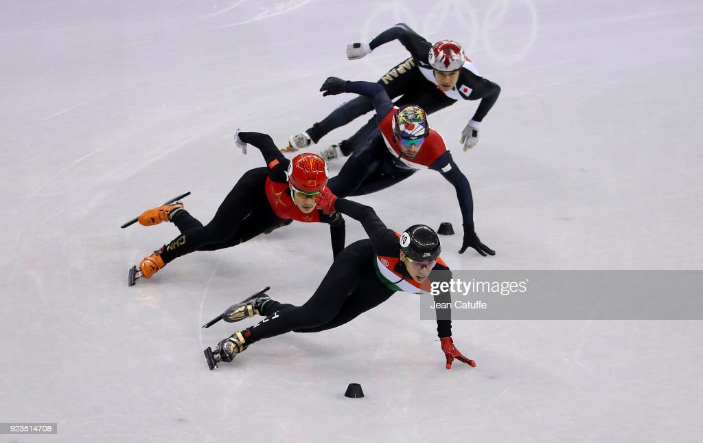 Shaolin Sandor Liu of Hungary (#10) leads front of Ziwei Ren of China (#16), Daan Breeuwsma of the Netherlands (#17) and Ryosuke Sakazume of Japan (#20) during the Short Track Speed Skating Men's 500m Final B on day thirteen of the PyeongChang 2018 Winter Olympic Games at Gangneung Ice Arena on February 22, 2018 in Gangneung, South Korea.