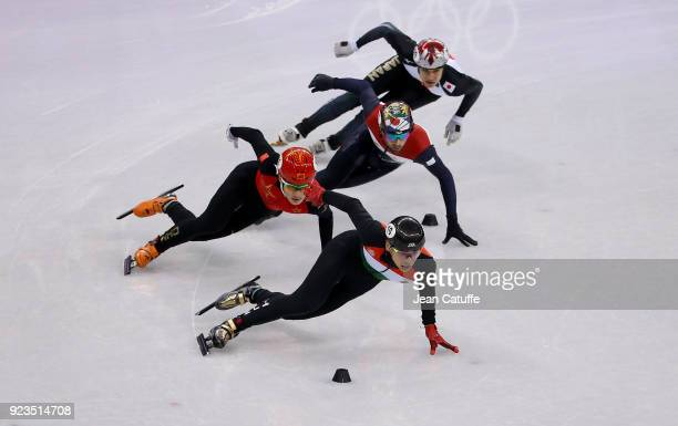 Shaolin Sandor Liu of Hungary leads front of Ziwei Ren of China , Daan Breeuwsma of the Netherlands and Ryosuke Sakazume of Japan during the Short...