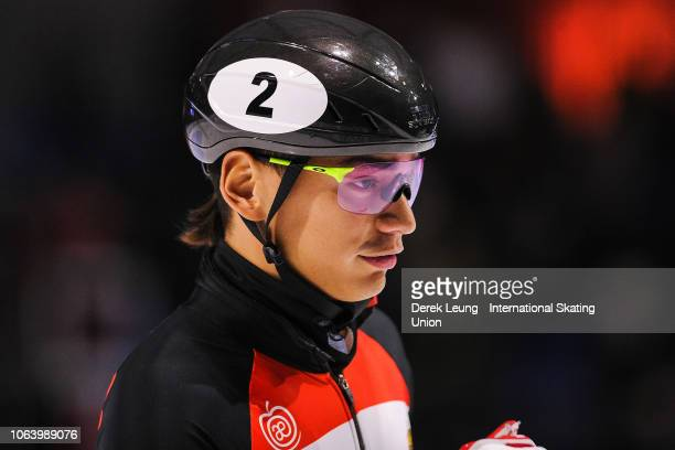 Shaolin Sandor Liu of Hungary placed first in the finals of the men's 5000m relay during the ISU World Cup Short Track Calgary at the Olympic Oval on...