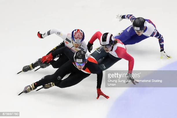 Shaolin Sandor Liu of Hungary Samuel Girard of Canada Kwak YoonGy of South Korea and Victor An of Russia compete in the Men 500m Quarterfinals during...