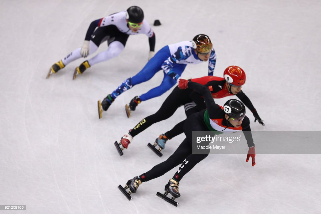 Shaolin Sandor Liu of Hungary, Tianyu Han of China, Semen Elistratov of Olympic Athlete from Russia and John-Henry Krueger of the United States during the Men's Short Track Speed Skating 500m Heats on day eleven of the PyeongChang 2018 Winter Olympic Games at Gangneung Ice Arena on February 20, 2018 in Gangneung, South Korea.
