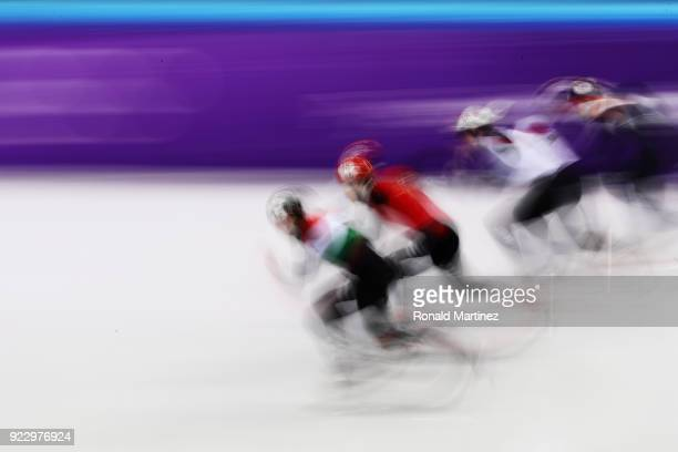 Shaolin Sandor Liu of Hungary Ziwei Ren of China Daan Breeuwsma of the Netherlands and Ryosuke Sakazume of Japan compete during the Short Track Speed...