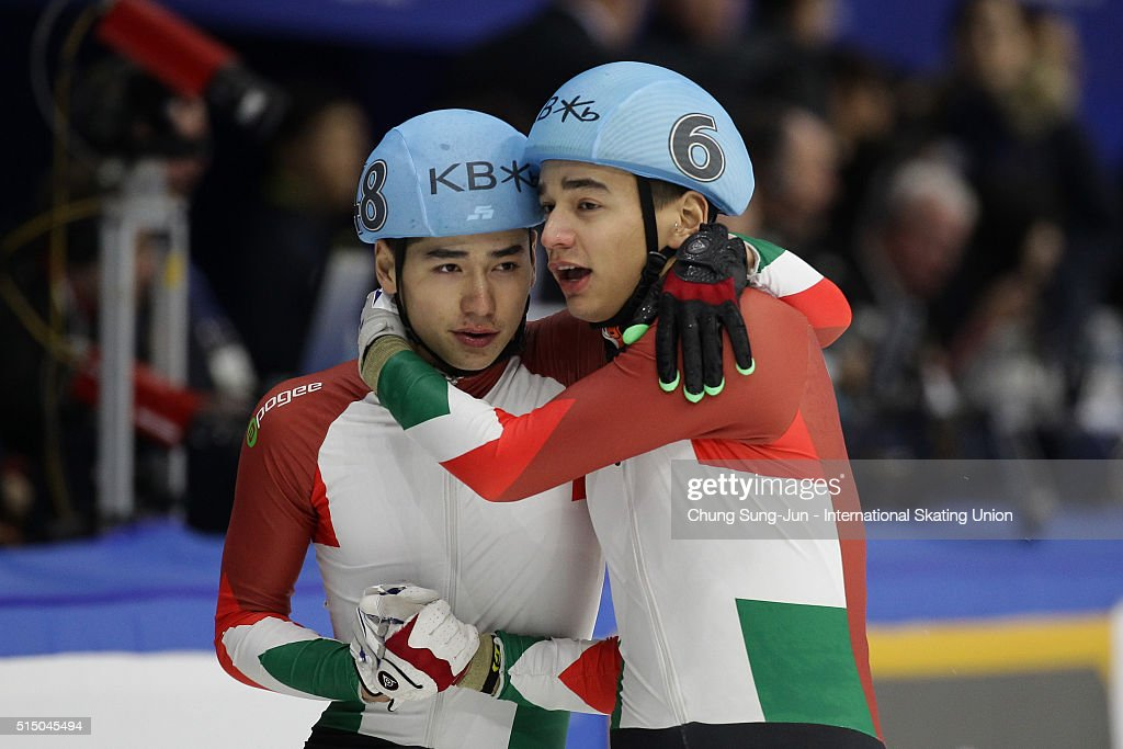 Shaolin Sandor Liu (R) of Hungray celebrates with Shaoang Liu of Hungray after winning the Men 500m Finals the ISU World Short Track Speed Skating Championships 2016 at Mokdong Icerink on March 12, 2016 in Seoul, South Korea.