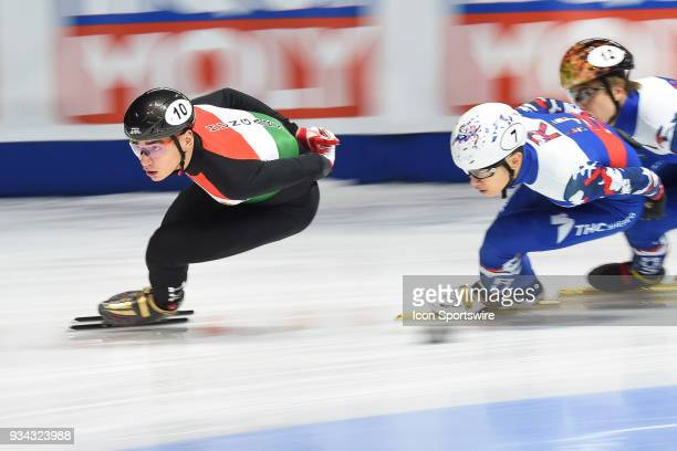 Shaolin Sandor Liu skates in front of Victor An during the 1000m Quarterfinals at ISU World Short Track Speed Skating Championships on March 18 at...