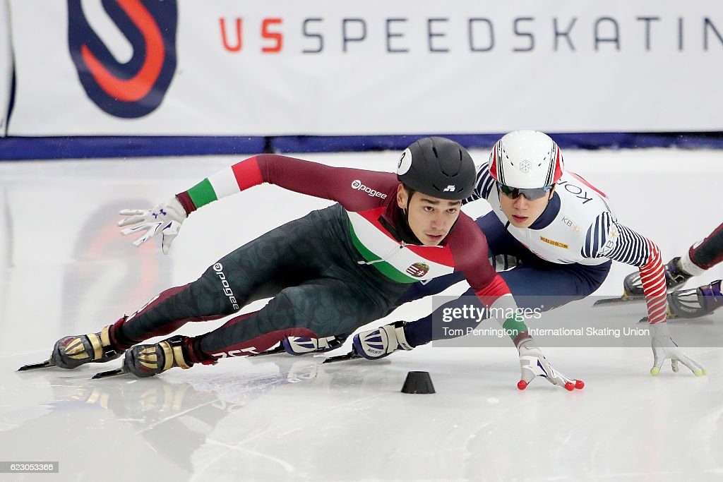 Shaolin Sandor of Hungary leads Kyoungwon Lim of Korea in the Men's 500 meter B-Final during the ISU World Cup Short Track Speed Skating event on November 13, 2016 in Salt Lake City, Utah.
