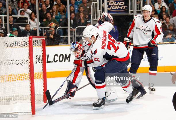 Shaone Morrisonn of the Washington Capitals scores a goal in his own net during an NHL game against the San Jose Sharks on November 22 2008 at HP...