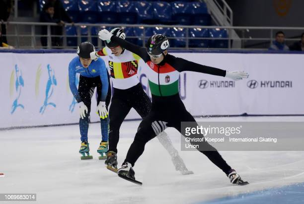 Shaong Liu of Hungary crosses as the first the finish line and won the1000 meter final A race during the ISU Short Track World Cup Day 1 at Halyk...