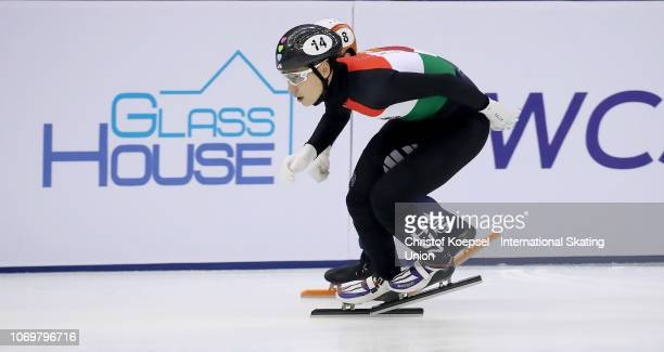 Shaong Liu of Hungary skates in front during the men 1000 meter final A race during the ISU Short Track World Cup Day 1 at Halyk Arena on December 8...