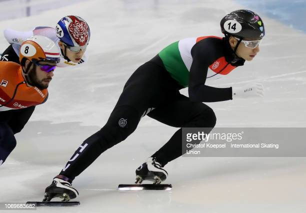 Shaong Liu of Hungary skates in front of the during the men 1000 meter final A race during the ISU Short Rack World Cup Day 1 at Kalyk Arena on...