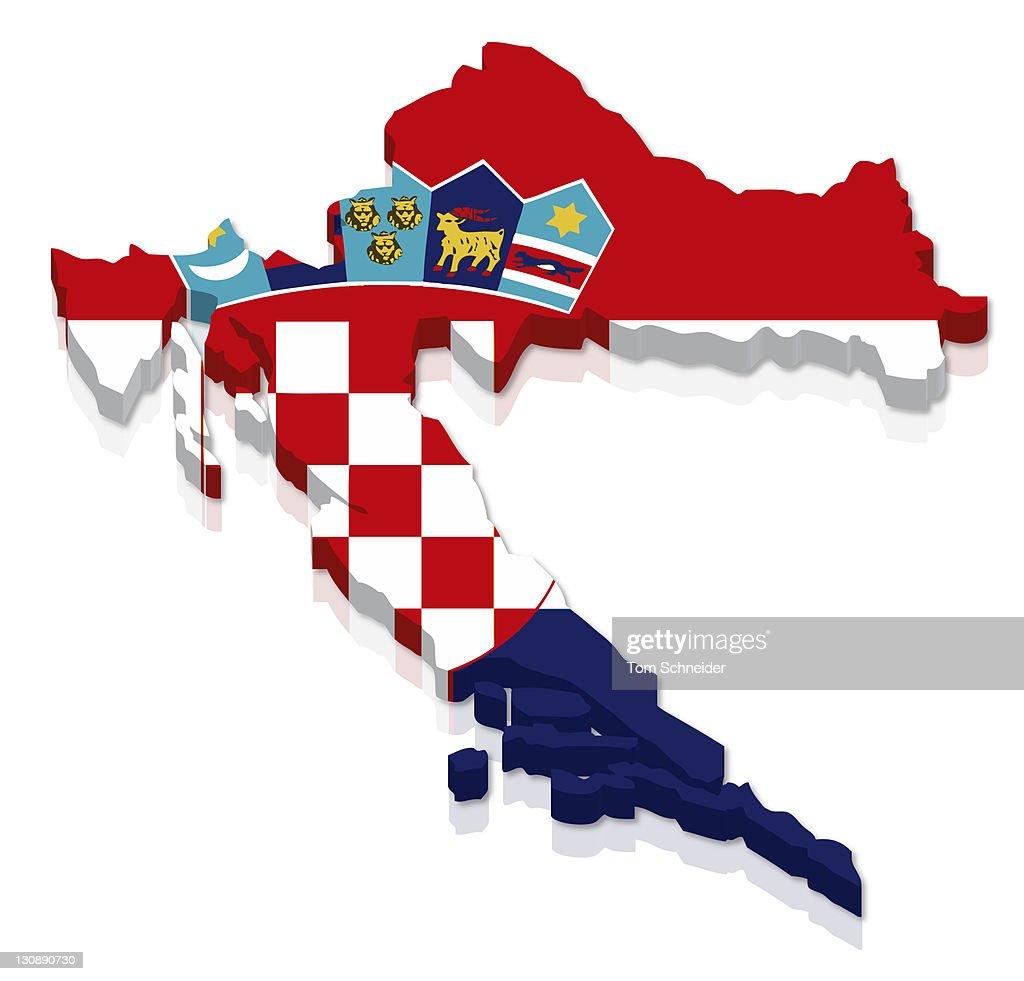 Shape And National Flag Of Croatia 3d Computer Graphics Stock Photo