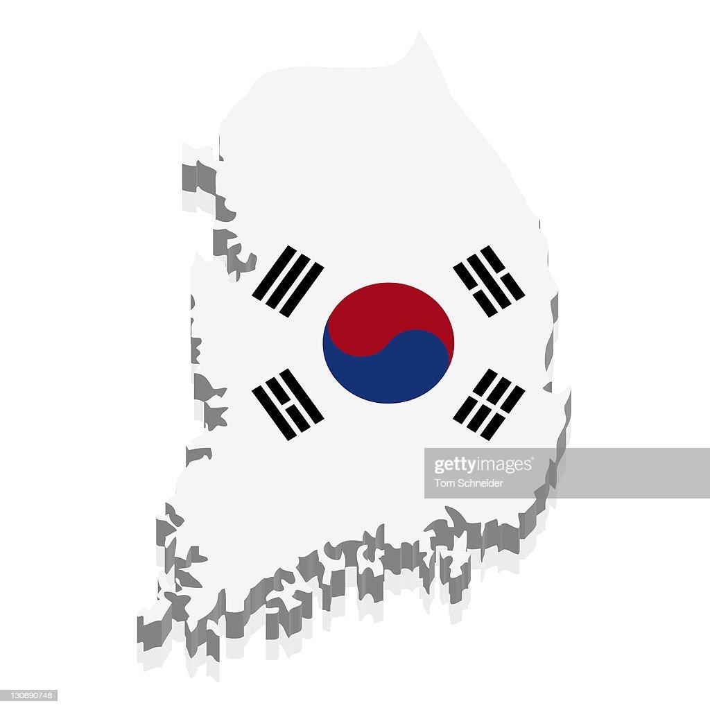 Shape And National Flag Of South Korea 3d Computer Graphics