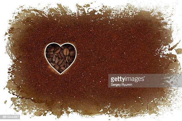 Shape of a heart and coffee beans