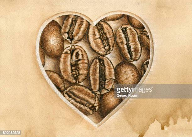 Shape of a Heart and coffee beans.