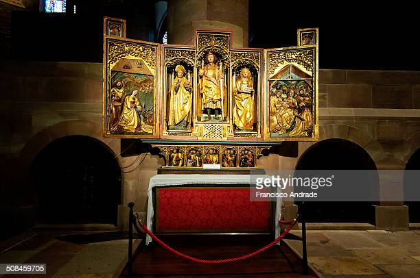 Shaped altar gothic triptych Dangolsheim in the cathedral of Notre Dame de Strasbourg France