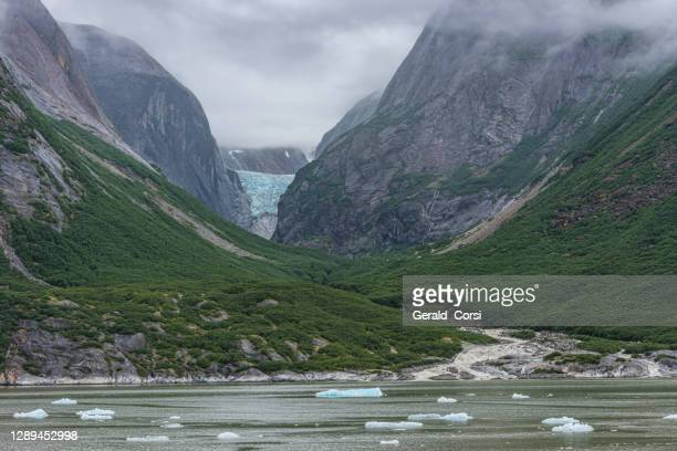 u shaped valley from the erosion by the glacier in the back of the valley. endicott arm, tongass national forest, alaska. fords terror wilderness. - national forest stock pictures, royalty-free photos & images