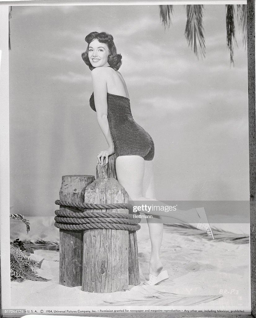 Barbara Rush Posing in Swimsuit Outside : News Photo