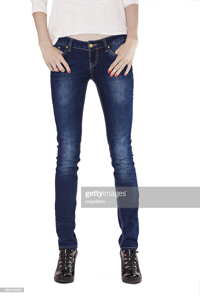 ada1d7661b Shapely Female Legs Dressed In Dark Blue Jeans Stock Photo | Getty ...