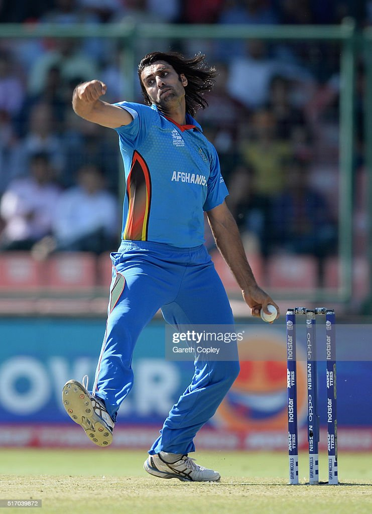 Shapoor Zadran of Afghanistan bowls during the ICC World Twenty20 India 2016 Group 1 match between England and Afghanistan at Feroz Shah Kotla Ground on March 23, 2016 in Delhi, India.