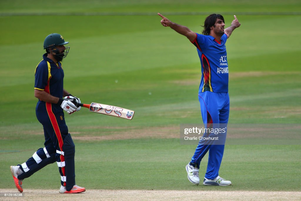 Shapoor Zadran of Afghanistan celebrates after taking the wicket of Misbah-ul-Haq of MCC during the MCC v Afghanistan cricket match at Lord's Cricket Ground on July 11, 2017 in London, England.