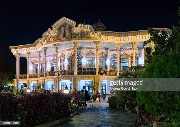 shapouri pavilion by night, shiraz, iran - shiraz stock photos and pictures