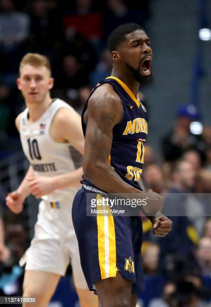 Shaq Buchanan of the Murray State Racers celebrates a basket against the Marquette Golden Eagles during the first round game of the 2019 NCAA Men's...