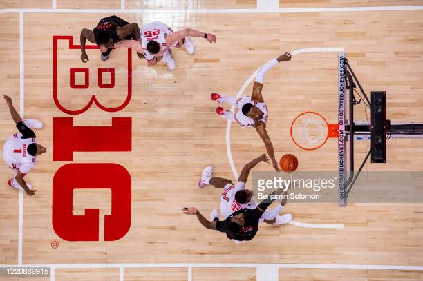 Shaq Carter of the Rutgers Scarlet Knights at Value City Arena on February 12, 2020 in Columbus, Ohio.