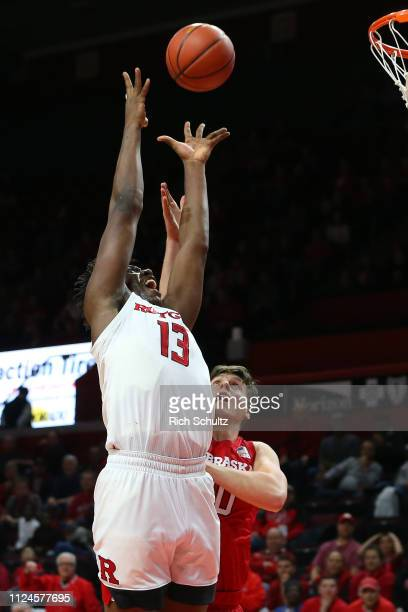 Shaq Carter of the Rutgers Scarlet Knights in action against Tanner Borchardt of the Nebraska Cornhuskers during a game at Rutgers Athletic Center on...