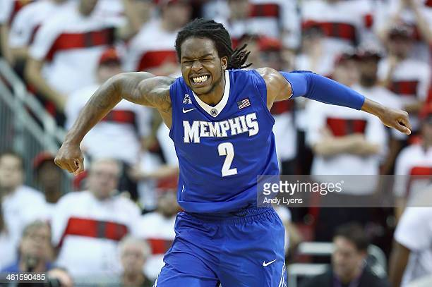 Shaq Goodwin of the Memphis Tigers celebrates after the 7367 win over the Louisville Cardinals at KFC YUM Center on January 9 2014 in Louisville...