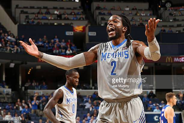 Shaq Goodwin of the Memphis Tigers reacts after a call against the TexasArlington Mavericks on November 23 2015 at FedExForum in Memphis Tennessee...
