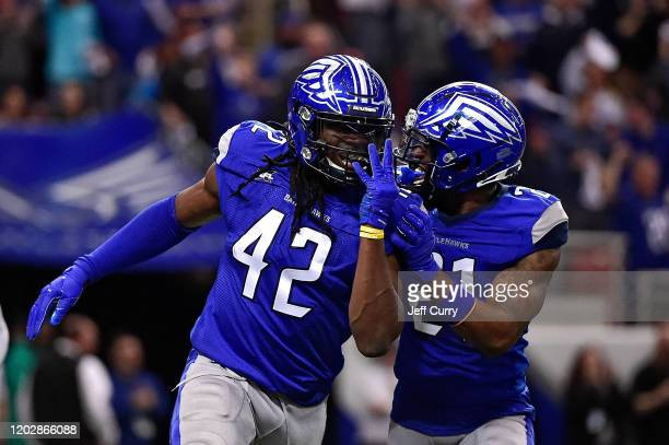 Shaq Jones of the St Louis Battlehawks celebrates with Harold JonesQuartey during the first half of an XFL game against the NY Guardians at The Dome...
